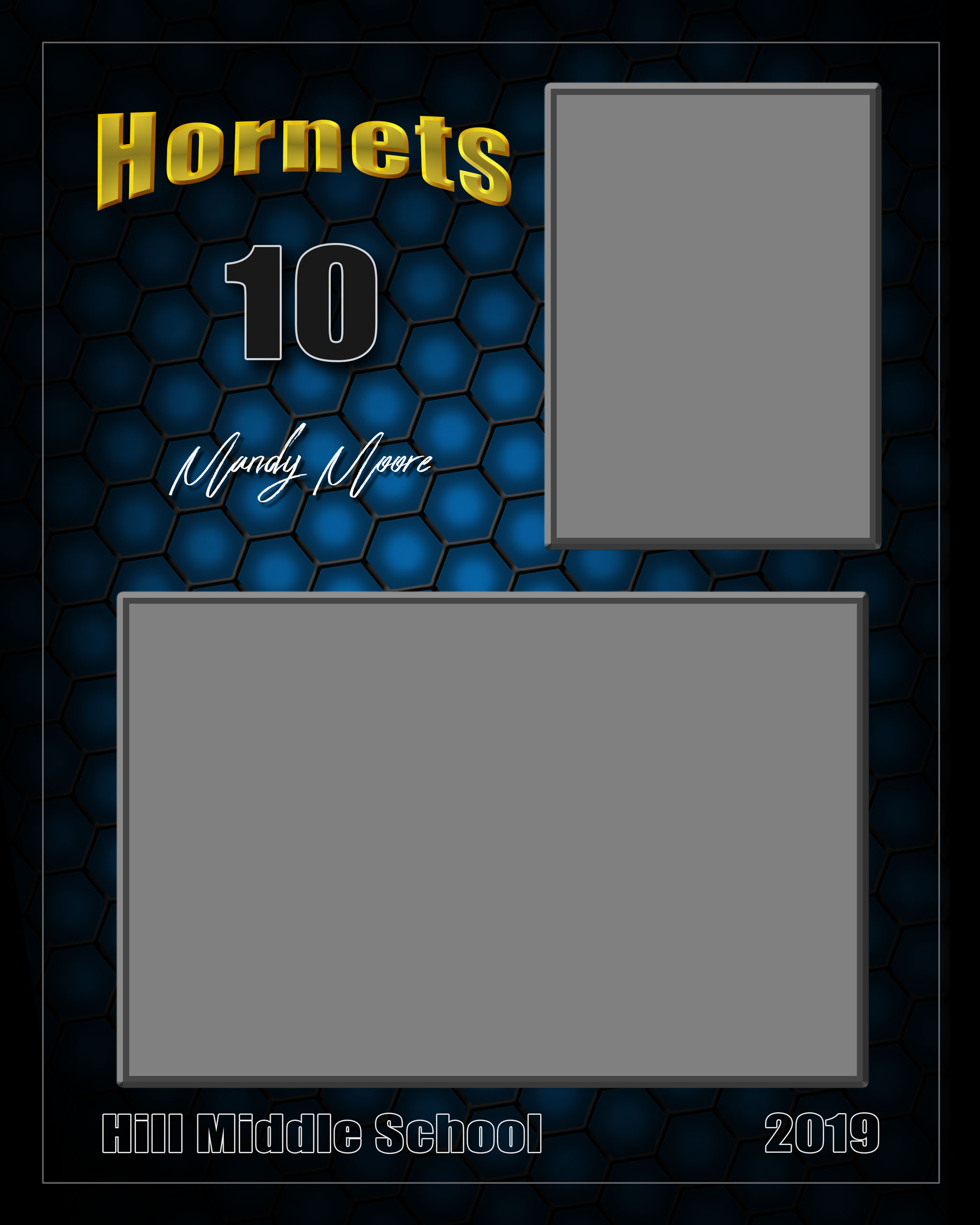 Photoshop templates for sports and portrait photography - honeycomb all sports vertical memory mate