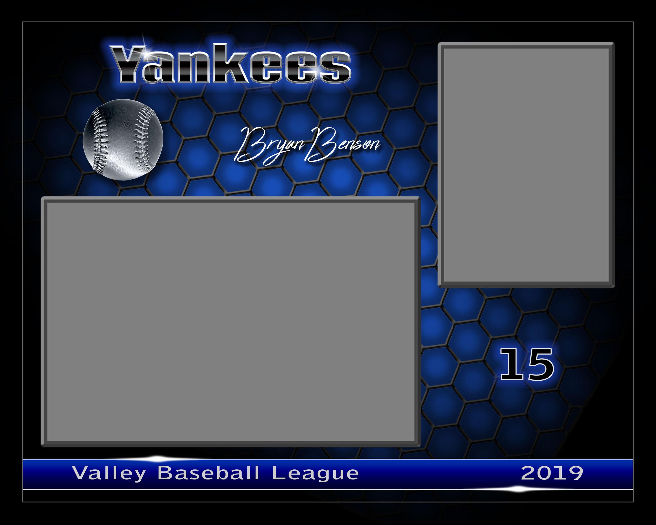Photoshop templates for sports and portrait photographers - honeycomb baseball horizontal memory mate